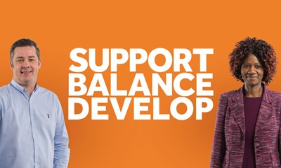Two adults next to the words support, balance, develop