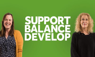 Two people on a green background with the words support, balance, develop