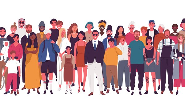 cartoon of diverse group of people