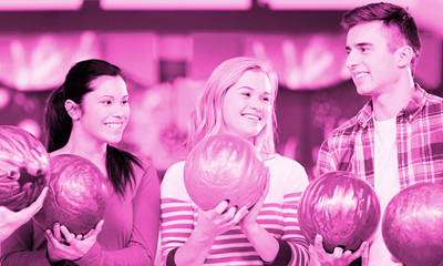Smiling young people, bowling