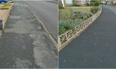 Before and after pictures of footway at The Estuary, Littlehampton