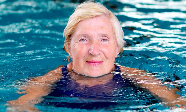 Older woman in a swimming pool