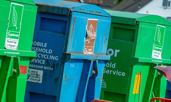 Skips at Selsey mobile household waste recycling site