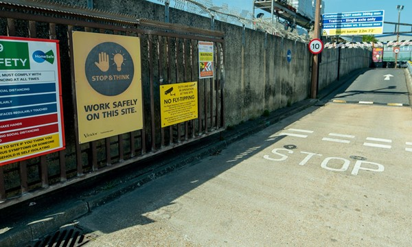 Entrance of Shoreham household waste recycling site