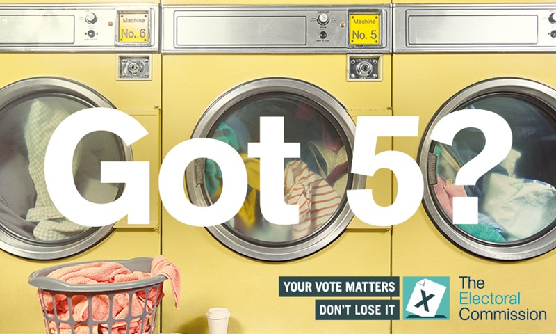 Three washing machines doing laundry overlaid with 'Got 5?'