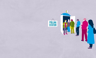 Illustration of people queueing up for a polling station