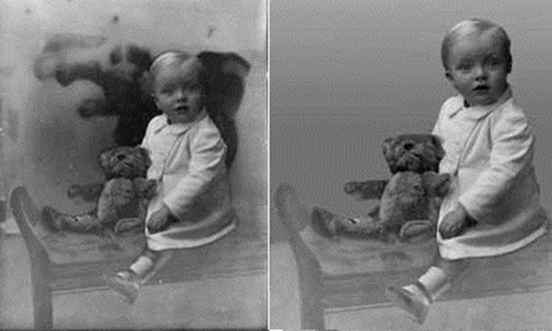 Before and after example of restored photo