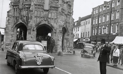 Chichester Market Cross with A259 main road traffic