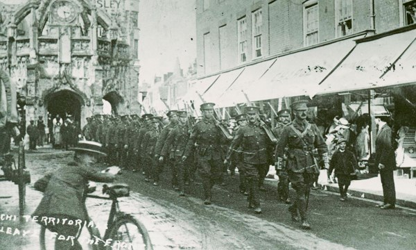 Great war soldiers marching through Chichester